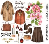 watercolor fashion illustration.... | Shutterstock . vector #1036572088