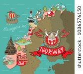 cartoon map of norway. elements ... | Shutterstock .eps vector #1036576150