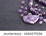 amethyst and amethyst beads for ... | Shutterstock . vector #1036579336