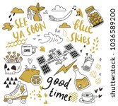 set of cute doodles isolated on ... | Shutterstock .eps vector #1036589200