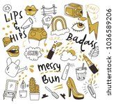 set of cute doodles isolated on ... | Shutterstock .eps vector #1036589206
