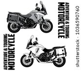 adventure   touring motorcycle... | Shutterstock .eps vector #1036590760