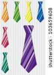 Bright horizontal stripe silk tie stickers in vector format. - stock vector