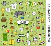 hand drawn doodle soccer set... | Shutterstock .eps vector #1036598434