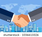 businessman shaking hands with... | Shutterstock .eps vector #1036613326
