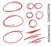 red circle grading marks with... | Shutterstock .eps vector #1036621906