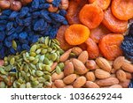 raisins  dried apricots ... | Shutterstock . vector #1036629244