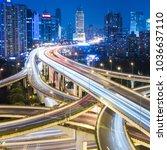night view of rush hour traffic ... | Shutterstock . vector #1036637110