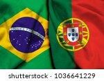 brazil flag and portugal flag... | Shutterstock . vector #1036641229