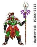 green orc shaman barbarian... | Shutterstock .eps vector #1036645813