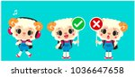vector set of cute little... | Shutterstock .eps vector #1036647658
