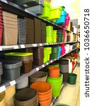 Plastic Pots And Boxes On The...