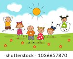 happy kids and sunny day.... | Shutterstock .eps vector #1036657870