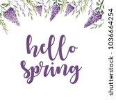 hello spring. watercolor hand... | Shutterstock . vector #1036664254