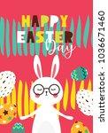 easter gift card in flat design....   Shutterstock .eps vector #1036671460
