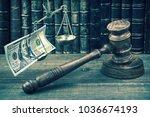 judge gavel  scale of justice... | Shutterstock . vector #1036674193