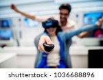 multiracial couple having fun... | Shutterstock . vector #1036688896