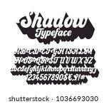shadow lettering font. cursive... | Shutterstock .eps vector #1036693030