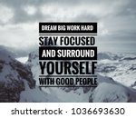 Small photo of Motivational and inspirational quotes - Dream big, work hard, stay focused and surround yourself with good people. With blurred vintage styled background.