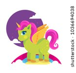 colorful green pony horse with... | Shutterstock .eps vector #1036694038