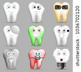 a collection of funny toothy... | Shutterstock .eps vector #1036702120