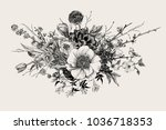 bouquet. spring flowers and... | Shutterstock .eps vector #1036718353
