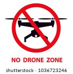 no drone zone sign. no drones... | Shutterstock .eps vector #1036723246