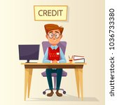 vector cartoon manager  bank... | Shutterstock .eps vector #1036733380
