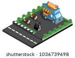 car hotdog food in the park ... | Shutterstock .eps vector #1036739698