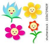 cute flowers sticker on white... | Shutterstock .eps vector #1036739839