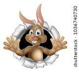 the easter bunny cartoon... | Shutterstock .eps vector #1036740730