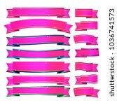 pink ribbons banner on white... | Shutterstock .eps vector #1036741573