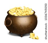 old iron cauldron full of gold... | Shutterstock .eps vector #1036745050