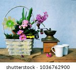 spring flowers bouquet and cofee   Shutterstock . vector #1036762900