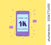 1k followers thank you phrase... | Shutterstock .eps vector #1036771450