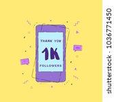 1k followers thank you phrase... | Shutterstock .eps vector #1036771450