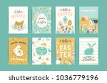 happy easter. vector templates... | Shutterstock .eps vector #1036779196