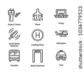 9 airport line icons | Shutterstock .eps vector #1036779523