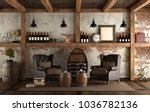 home wine cellar in retro style ...   Shutterstock . vector #1036782136