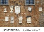 medieval stone wall with bas... | Shutterstock . vector #1036783174