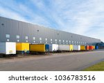 large commercial warehouse with ... | Shutterstock . vector #1036783516