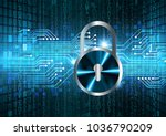 safety concept  closed padlock... | Shutterstock .eps vector #1036790209