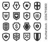 shield icons set on white... | Shutterstock .eps vector #1036793800
