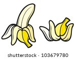 peeled banana and banana peel | Shutterstock .eps vector #103679780