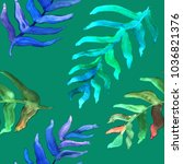 watercolor hand drawn summer... | Shutterstock . vector #1036821376