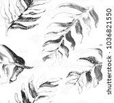 watercolor hand drawn summer... | Shutterstock . vector #1036821550