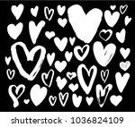 brush pen heart big set.... | Shutterstock .eps vector #1036824109