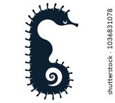 black silhouette of a seahorse  ... | Shutterstock .eps vector #1036831078
