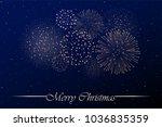 firework show on blue night sky ... | Shutterstock . vector #1036835359
