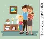 family parents in house place... | Shutterstock .eps vector #1036842070